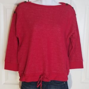 Ralph Lauren Red Tie Waist 3/4 Sleeve Sweatshirt